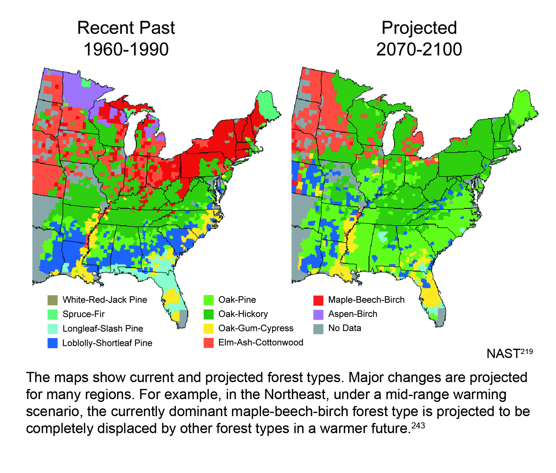 Projected Shifts In Forest Types Global Climate Change Impacts - Us map of forest types