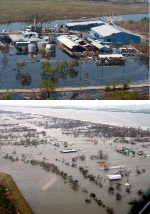 Flooding damage in Louisiana due to Hurricane Katrina