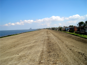 Recent upgrades that raised the height of this earthen levee increased protection against storm surge in the New Orleans area.