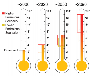 Observed and Projected Temperature Rise