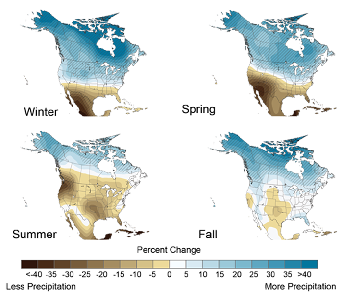 Projected Change in North American Precipitation by 2080-2099