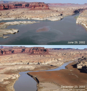 Matching photographs taken 18 months apart during the most serious period of recent drought show a significant decrease in Lake Powell.