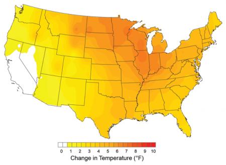 Winter temperature Trends, 1975 to 2007