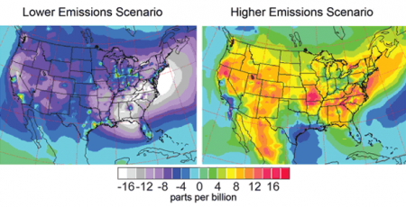 Projected Change in Ground-Level Ozone, 2090s