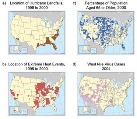 Geographic Vulnerability of U.S. Residents to Selected Climate-Related Health Impacts