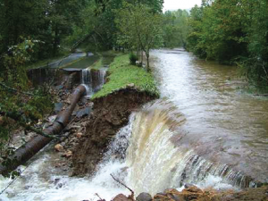 Damage to the city water system in Asheville, North Carolina, due to heavy rain in 2004.
