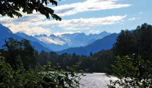 Skagit River and surrounding mountains in the Northwest